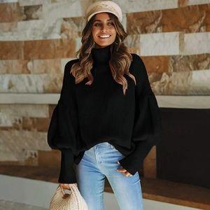 Boutique Sweaters - New Boho Lantern Puff Sleeve Turtleneck Sweater